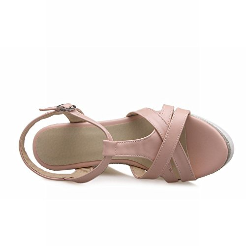 Carolbar Womens T-strap Voor Dames Zoete Leuke Zomerfeest Fashion Platform Wiggen Sandalen Roze