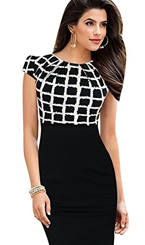 Black Dress J OL Contrasted Printed plaid Ruffles Merope Neck Womens Pencil FzHHx7