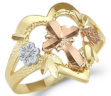 Size- 12 - 14k Tri Color Gold Cross Crucifix Flower Heart Ring