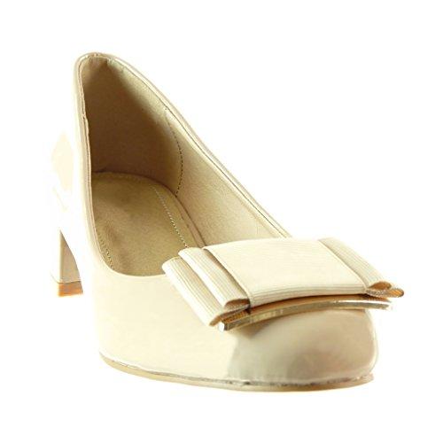 Angkorly - damen Schuhe Pumpe - Slip-On - Dekollete - Knoten - Patent Blockabsatz high heel 4 CM Beige