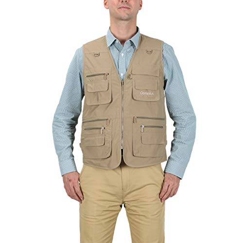 LUSI MADAM Men's Poplin Outdoors Travel Sports Pockets Vest US 5XL/Asia 8XL Khaki