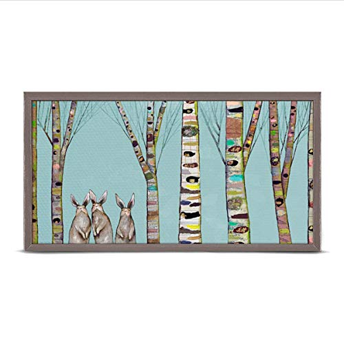 (GreenBox Art + Culture Bunnies in The Woods by Eli Halpin 5 x 10 Mini Framed Canvas, Rustic Natural)
