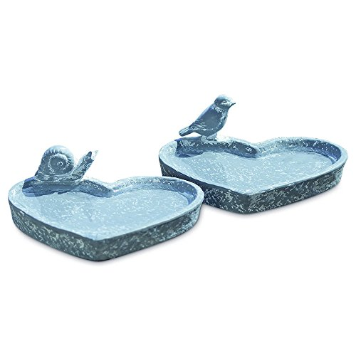 World Spring - Whole House Worlds Spring Dish Bird Feeders, Set of 2, Heart Shaped Basins, Snail and Bird Figurines, Gray Finished Terracotta Basins, 6 3/4 Inches Wide, By WHW