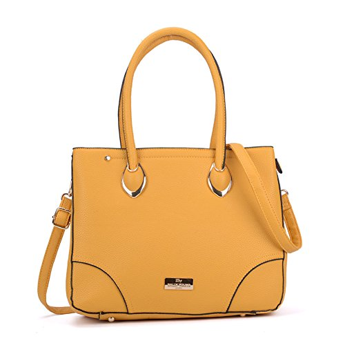 SALLY YOUNG Fashion Women Zip Front Tote Bag Nice Handbag Yellow(sy2156)
