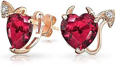 Rose Gold Plated CZ Simulated Ruby Devil Heart Studs Silver