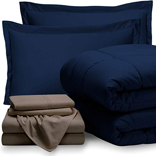 Bare Home Bed-in-A-Bag 7 Piece Comforter & Sheet Set - Queen - Goose Down Alternative - Ultra-Soft 1800 Premium - Hypoallergenic - Breathable Bedding Set (Queen, Dark Blue/Taupe) (Down Alternative A In Bag Bed)