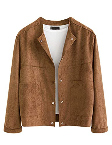 Uaneo Women's Long Sleeves Collarless Faux Suede Jacket Coat Outerwear (Medium, Brown)