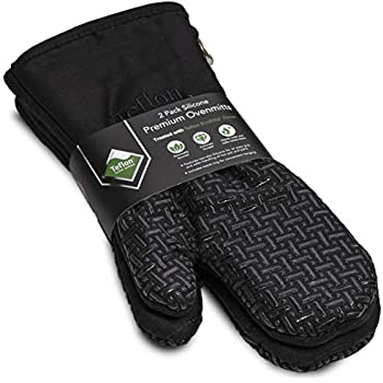 XLNT Extra Long Black Oven Mitts, Waterproof and Heat Resistant, Teflon Eco Elite Coating with Cotton Lining, Silicone Non Slip Texture, Hanging Loop, Great for Home Baker Or Commercial Chef Use