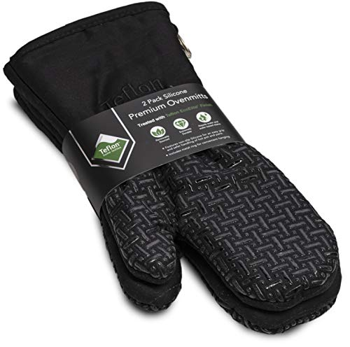 XLNT Extra Long Black Oven Mitts, Waterproof and Heat Resistant, Teflon Eco Elite Coating with Cotton Lining, Silicone Non Slip Texture, Hanging Loop, Great for Home Baker Or Commercial Chef Use (Mitts Heat Touch Oven)