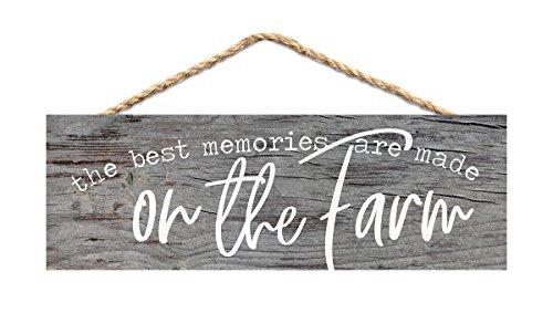 - P. GRAHAM DUNN Best Memories on Farm Rustic Grey 10 x 3.5 Inch Pine Wood Slat Hanging Wall Sign