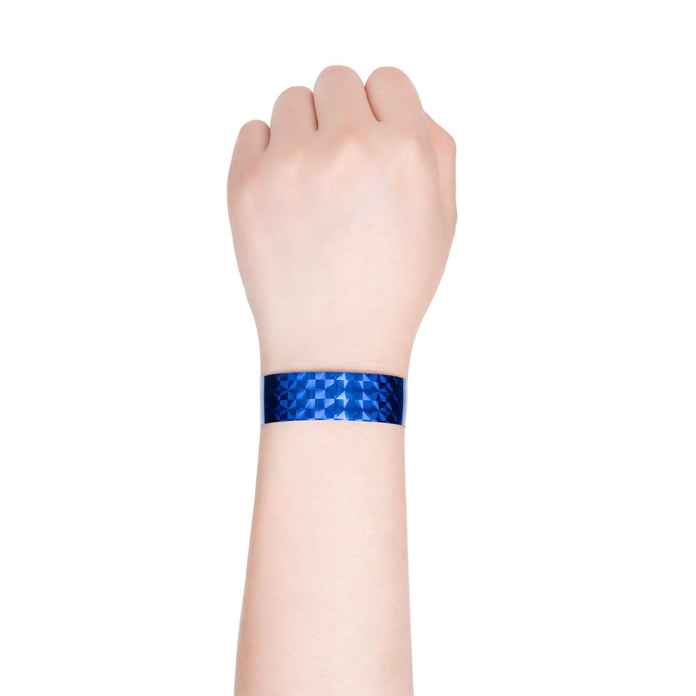 Ouchan Holographic Plastic Party Wristbands Blue 500 Pack Vinyl Wristbands for Events Club Music Meeting