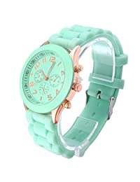 Daditong Popular Silicone Quartz Men Women Girl Boy Unisex Jelly Wrist Watch (Turquoise)