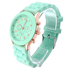 Band material: silicone strap  Case material: Stainless steel  Band size: 190 x 20mm(L*W,Case not included)  Case size: 39 x 12mm(Dia.*T)  Color: Light Green