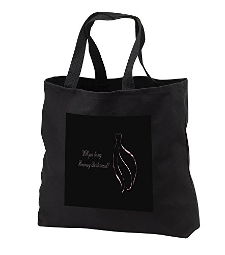 Beverly Turner Wedding Bridal Party Design - Honorary Bridesmaid Request, Pink Outline of Dress on Black - Tote Bags - Black Tote Bag JUMBO 20w x 15h x 5d (tb_282208_3) by 3dRose