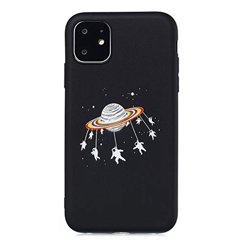 Yobby Black Case for iPhone 11 6.1 inch,Soft Silicone Case with Cute Space Design,Cool Fashion Boys Girls Kids Flexible Rubber Gel Shockproof Cover for iPhone 11 6.1 inch-Astronaut