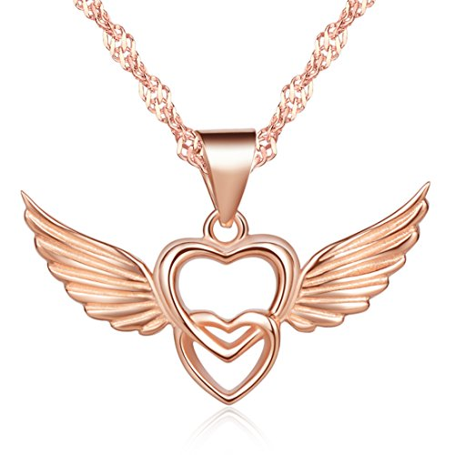 Infinite U 925 Sterling Silver Double Hearts Angel Wings Pendant Women's Necklace,Rose Gold (Angel Heart Pendant)