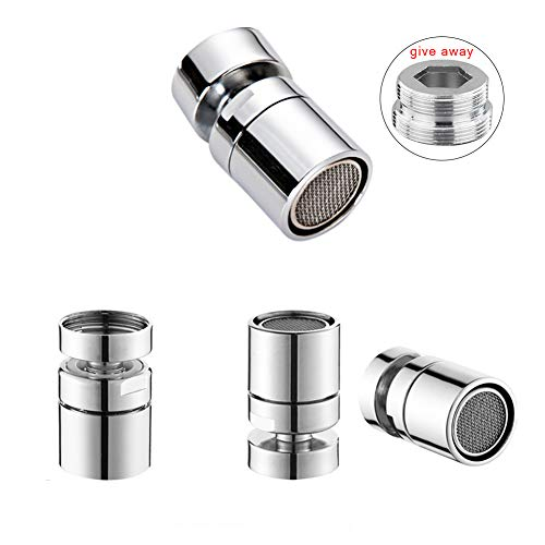 BERKET 360°Multi-Function Double-Flow Bathroom Kitchen Sink Rotating Faucet Spray Aerator Water Saving Device 55/64 Inch - 27UNS Female Thread (style2) ()