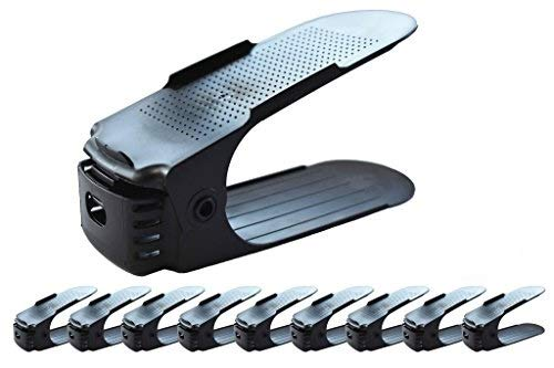 Adjustable Shoe Slots Organizer 10 Pieces/Set Black Space Saver Solution By Pure Products