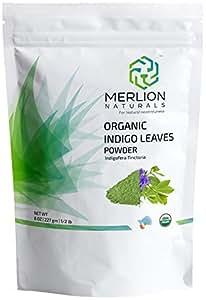 Organic Indigo Powder by MERLION NATURALS | Indigofera Tinctoria | Certified Organic (227 gm)
