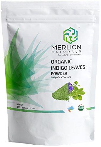 Organic Indigo Powder by MERLION NATURALS | Indigofera Tinctoria | USDA NOP Certified 100% Organic (8 OZ)