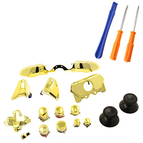(SING F LTD Elite Full Replacement LB RB Bumpers Triggers Buttons with Tools For Xbox One Elite Controller, Chrome Gold)