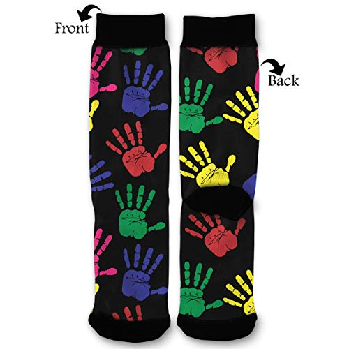 (Colourful Hand Print Men & Women Casual Cool Cute Crazy Funny Athletic Sport Colorful Fancy Novelty Graphic Crew Tube)