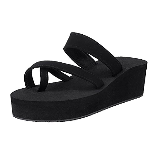 Thong Platform Shoes - Leisurely Pace Black Wedge Flip Flops for Women Girl Rubber Platform Summer Beach Sandal