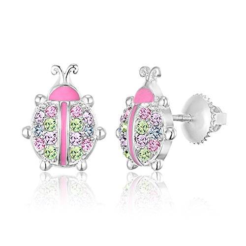 Sterling Silver Ladybug (Kids Earrings - 925 Sterling Silver with a White Gold Tone Pink Enamel and Crystal LadyBug Screwback Earrings MADE WITH SWAROVSKI ELEMENTS Kids, Children, Girls,)