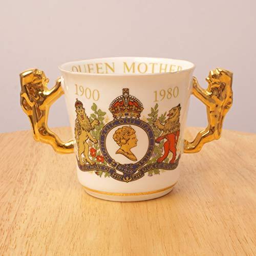Bone Paragon China (Restored by UKARETRO Paragon Ceramic Mug/Cup    Queen Mother Queen Elizabeth    80th Birthday    1900 1980    Limited    English Fine Bone China    2 Handles)