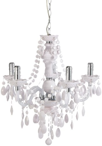 Reality Luster - Lámpara colgante de 5 luces. Necesarias 5 bombillas E14 de máximo 40W excluidas. Cuerpo acrílico blanco.