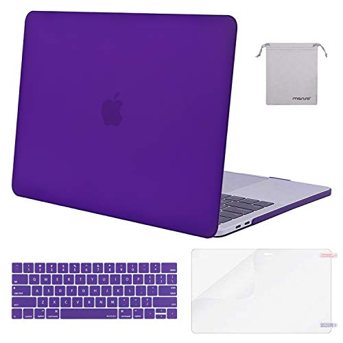 MOSISO MacBook Pro 13 Case 2018 2017 2016 Release A1989/A1706/A1708, Plastic Hard Shell & Keyboard Cover & Screen Protector & Storage Bag Compatible Newest Mac Pro 13 Inch, Ultra Violet