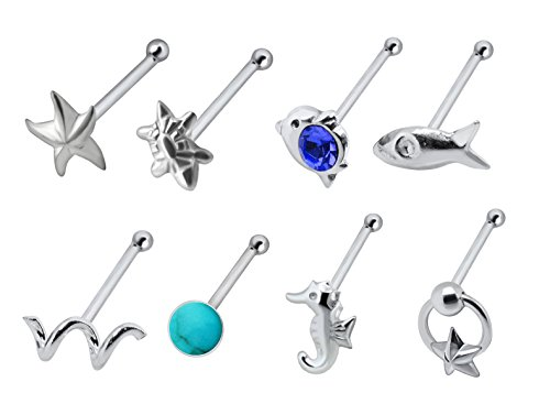 ck Turtle, Dolphin, Bird, Starfish, Fish, twist, doorknocker star, seahorse, turquoise nose Rings piercing bone 20g ()