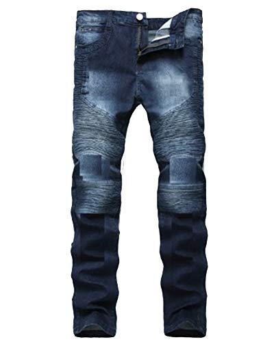 Vaqueros Hombre Biker Vaqueros Denim Slim Fit Motero Moderno Ajustados Elásticos,Jeans Plisados C Estilo