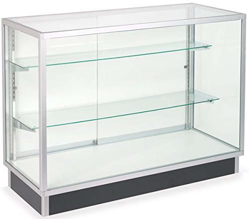 Free-Standing Glass Display Cabinet, Tempered Glass And Clear Coat Aluminum Frame, For Retail Use by Displays2go