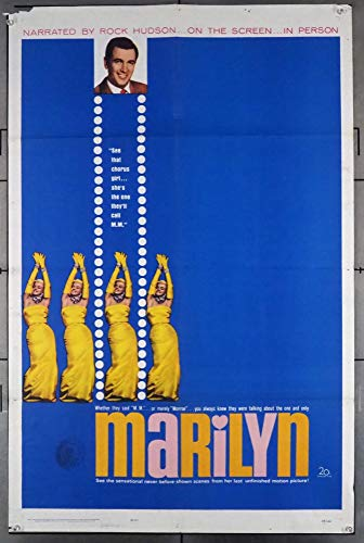 Marilyn (1963) Original U.S. One-Sheet Movie Poster 27x41 Folded Good Condition MARILYN MONROE documentary narrated by ROCK HUDSON Film directed by HAROLD MEDFORD