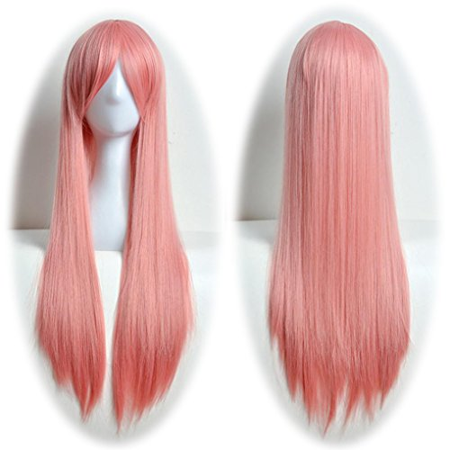 [DEESEE(TM) 80cm Full Wig Long Straight Wig Cosplay Party Costume Hair Cosplay wig (Pink)] (Making Waves Sailor Costume)