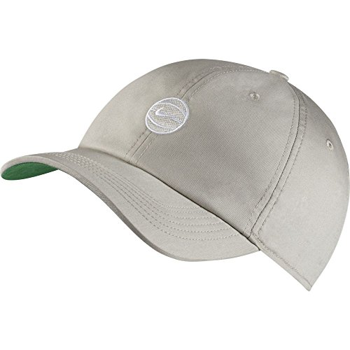 NIKE Heritage 86 Basketball Adjustable Hat Pale Grey Pine Green (Nike Lightweight Beanie)