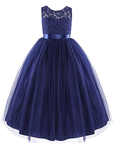 iEFiEL Junior Girls Lace Flower Wedding Pageant Bridesmaid Long Dress Prom Dance Ball Gown Navy Blue 6