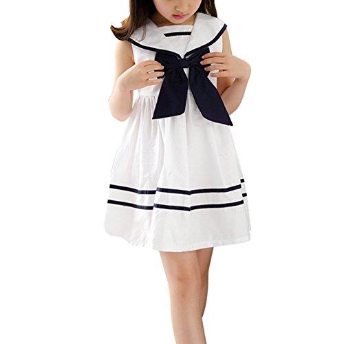 Soly Tech Little Big Girls Summer Sleeveless Princess Navy School Dress