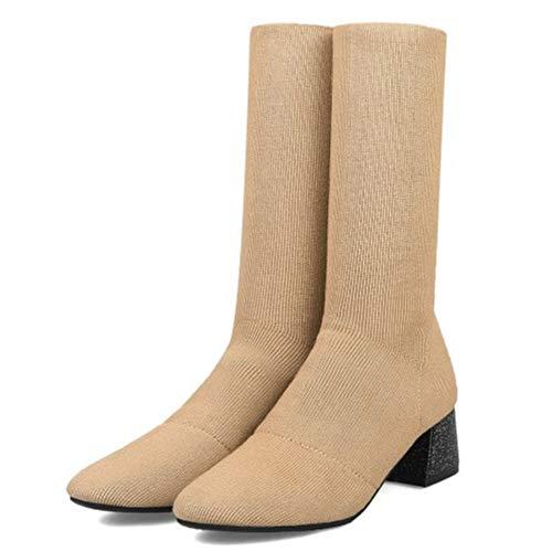 Half Taoffen Apricot Heel Block Boots Women 6rqrxtw7