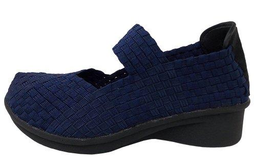 Bernie Mev Womens Charm Yael Casual Flats Shoes Navy