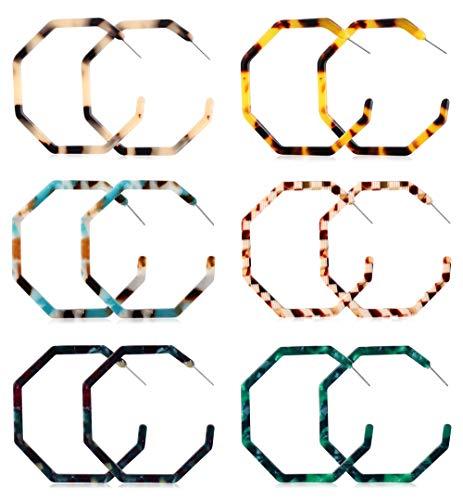 ORAZIO Acrylic Hoop Earrings for Women Girls Boho Resin Hoop Stud Earrings (B:6 Pairs)