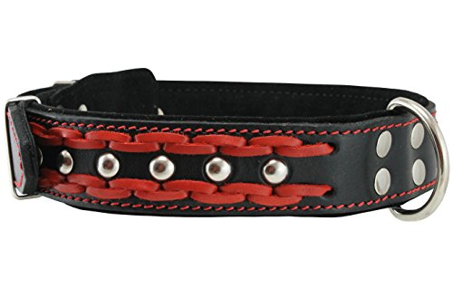 Genuine Leather Braided Studded Dog Collar, Red on Black 1.6' Wide. Fits 19'-24' Neck, Large