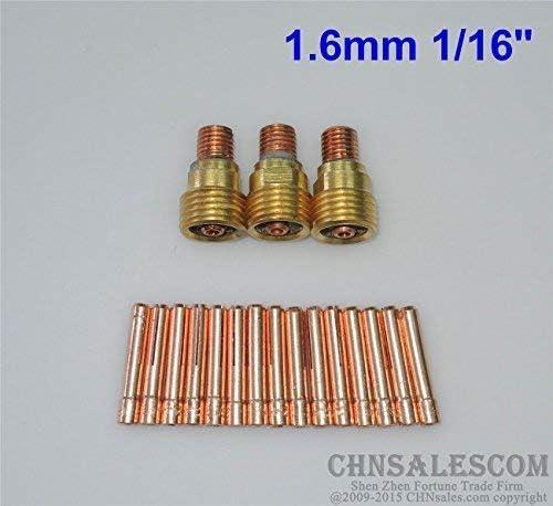 CHNsalescom 18pcs 45V43 Collet Body Gas Lens 13N22 Collet Tig Welding WP-9//20//25 1.6mm 1//16