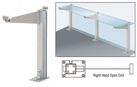 """CRL Satin Anodized 18"""" Right Hand Open End Partition Post With Top Shelf - D995ARH0E"""