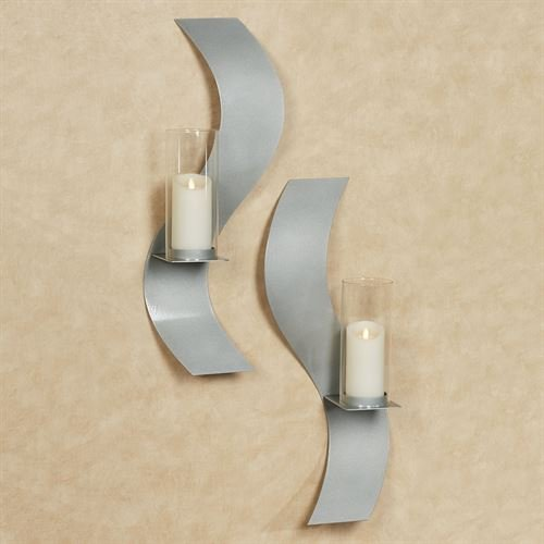 Touch Of Class Metal Rhythmic Wall Sconces Silver Set of Two