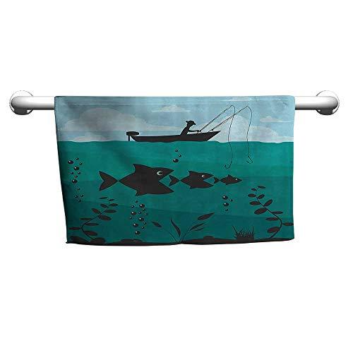 flybeek Premium Fishing Decor,Single Man in Boat Luring with Bobbins Nautical Marine Sea Nature Funky Image,Blue Teal,freestanding Towel Racks for Bathroom