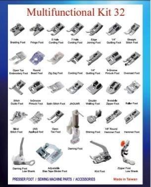 32pcs máquina de coser prensatelas para Brother Janome Singer doméstica Parte (32pcs)
