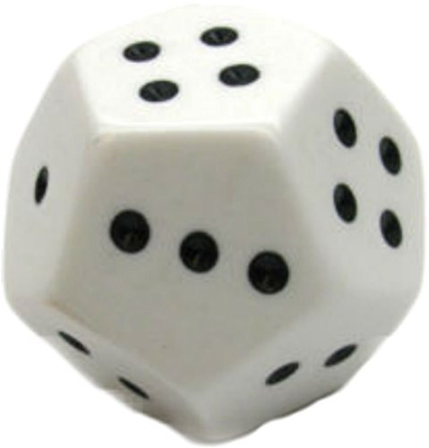 Custom & Unique {Huge XL Big Large Size 28mm} Single Ct Pack Set of 12 Sided [D12] Dodecagon Shape Playing Dice w/ Rounded Corner Edges w/ Classy and Spotted Design [White & - Side Dice 12