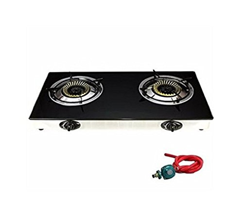 USA Premium Store Gas Range Stove Deluxe 2 Burner Tempered Glass Cooktop Auto Ignition by USA Premium Store